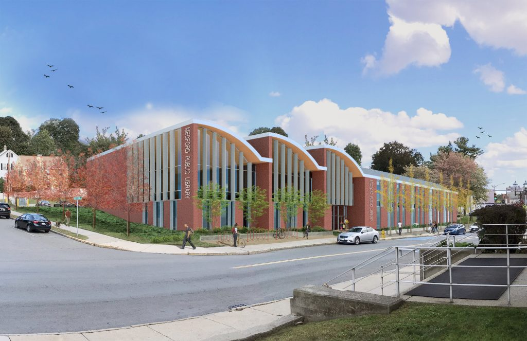 An exterior rendering of what the completed Medford Public Library will look like. The building is modern with three curved sections made out of brick and tall windows lining most of the walls